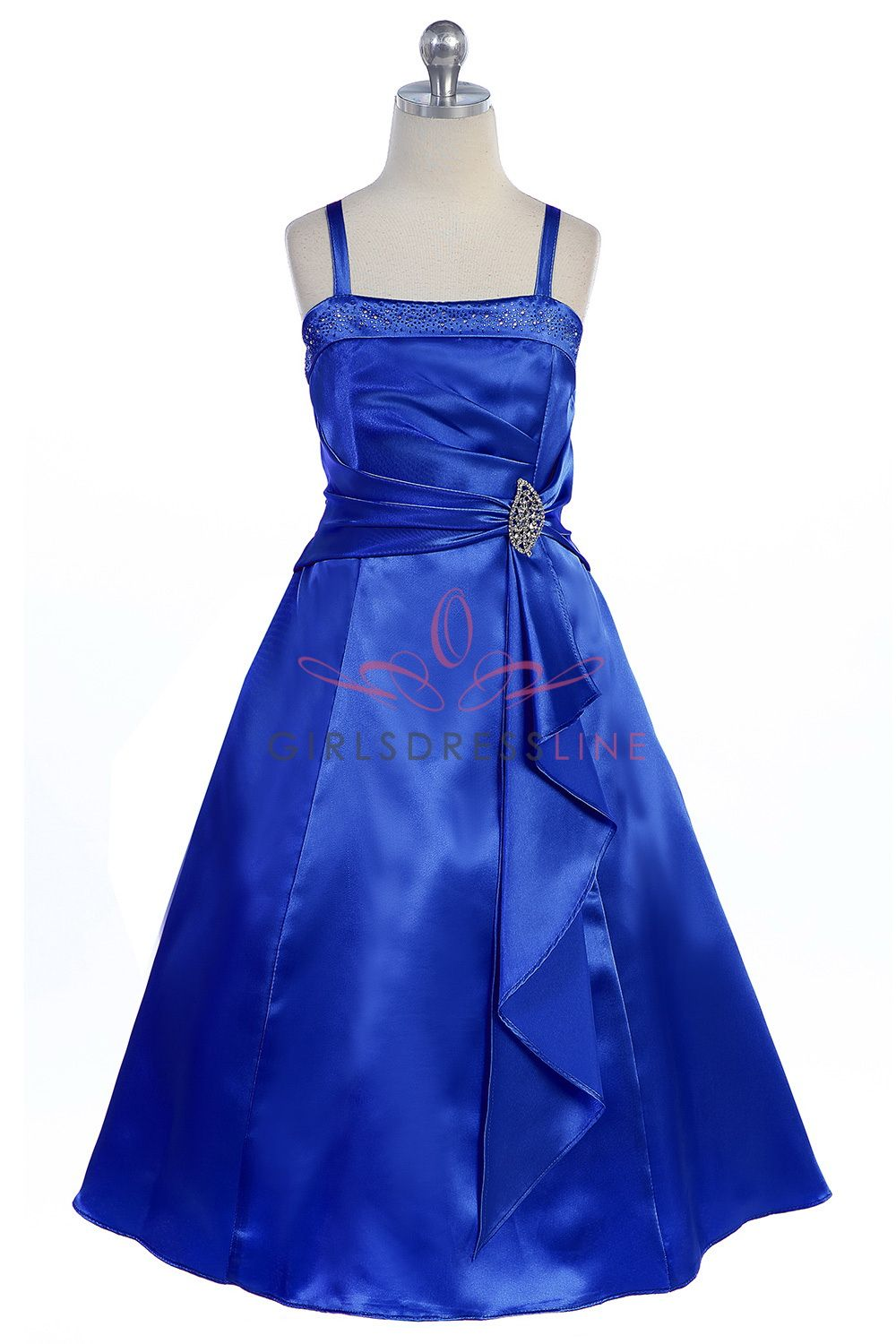 ce31297c746 Royal Blue Brilliant Satin Rufflel Detail A-line Flower Girl Dress with  Sparkles L4305-RB  49.95 on www.GirlsDressLine.Com