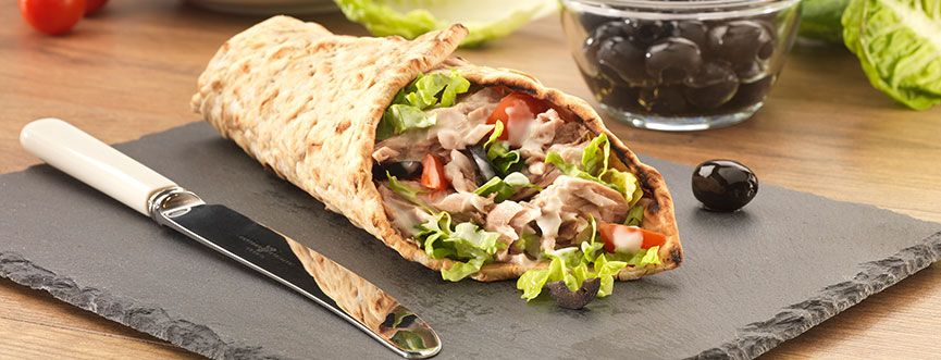 Hellmann's Tuna, Cherry Tomato and Olive Wrap.