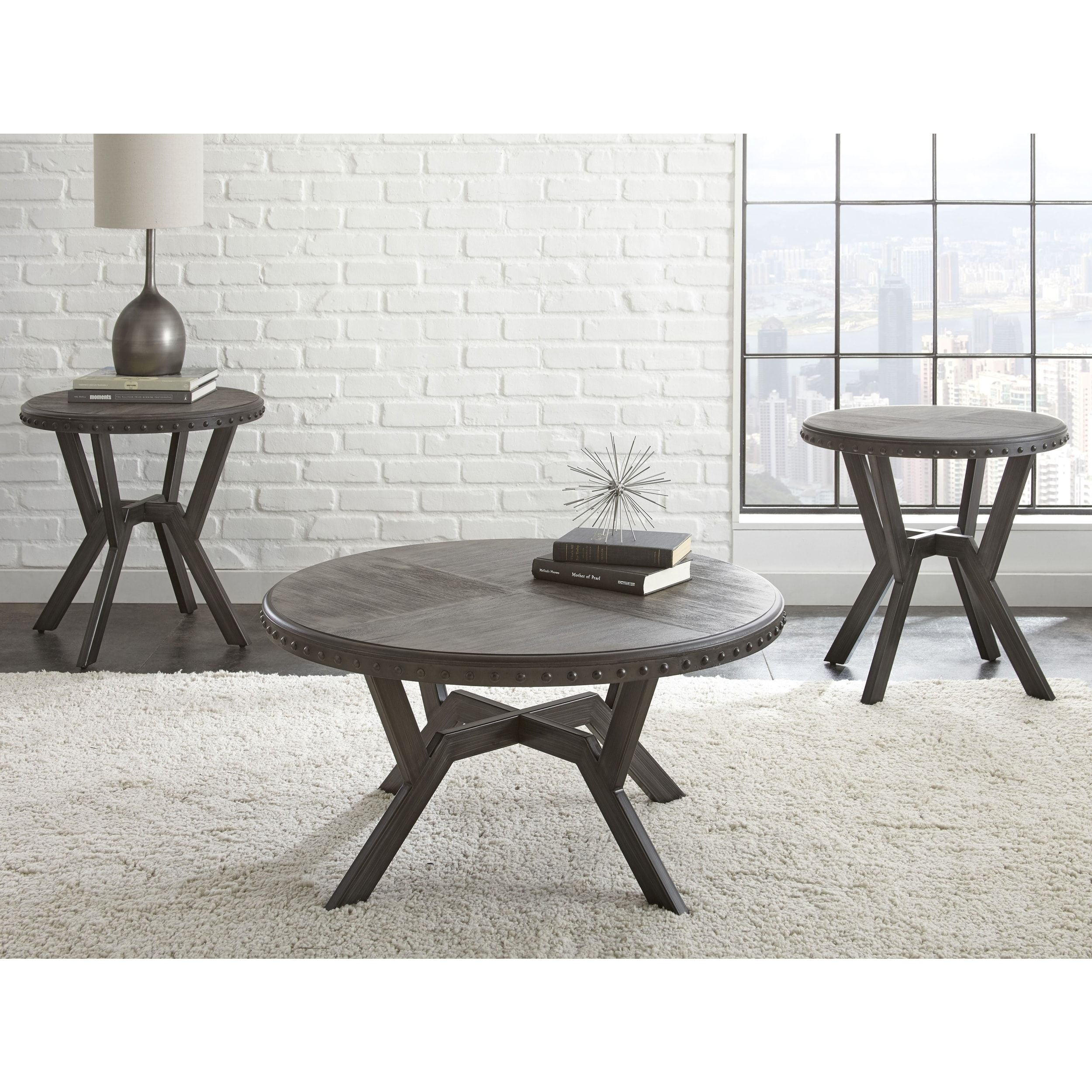 Avilla Grey Metal Round Industrial Style End Table By Greyson Living