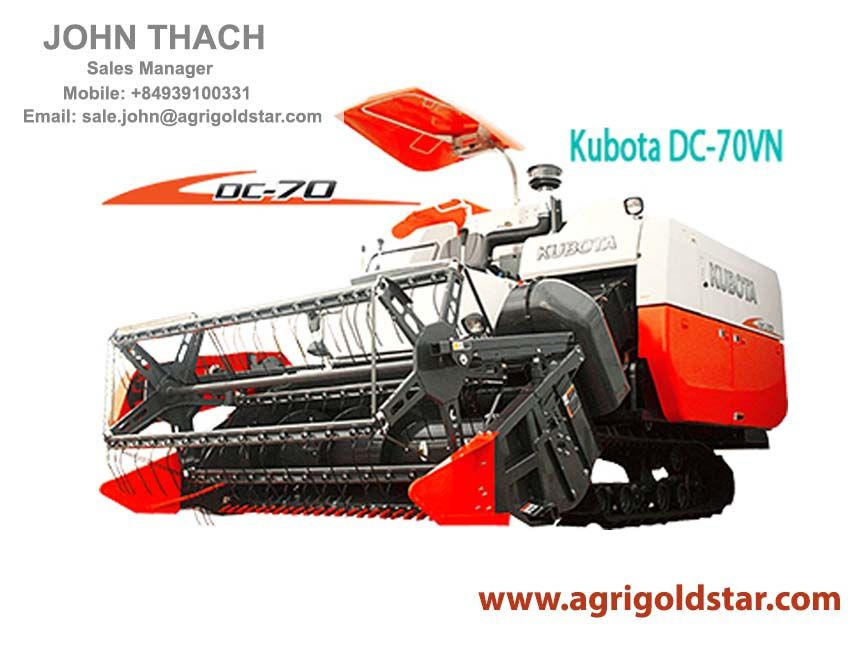 Kubota Combine Harvester DC-70VN Superior Effectiveness