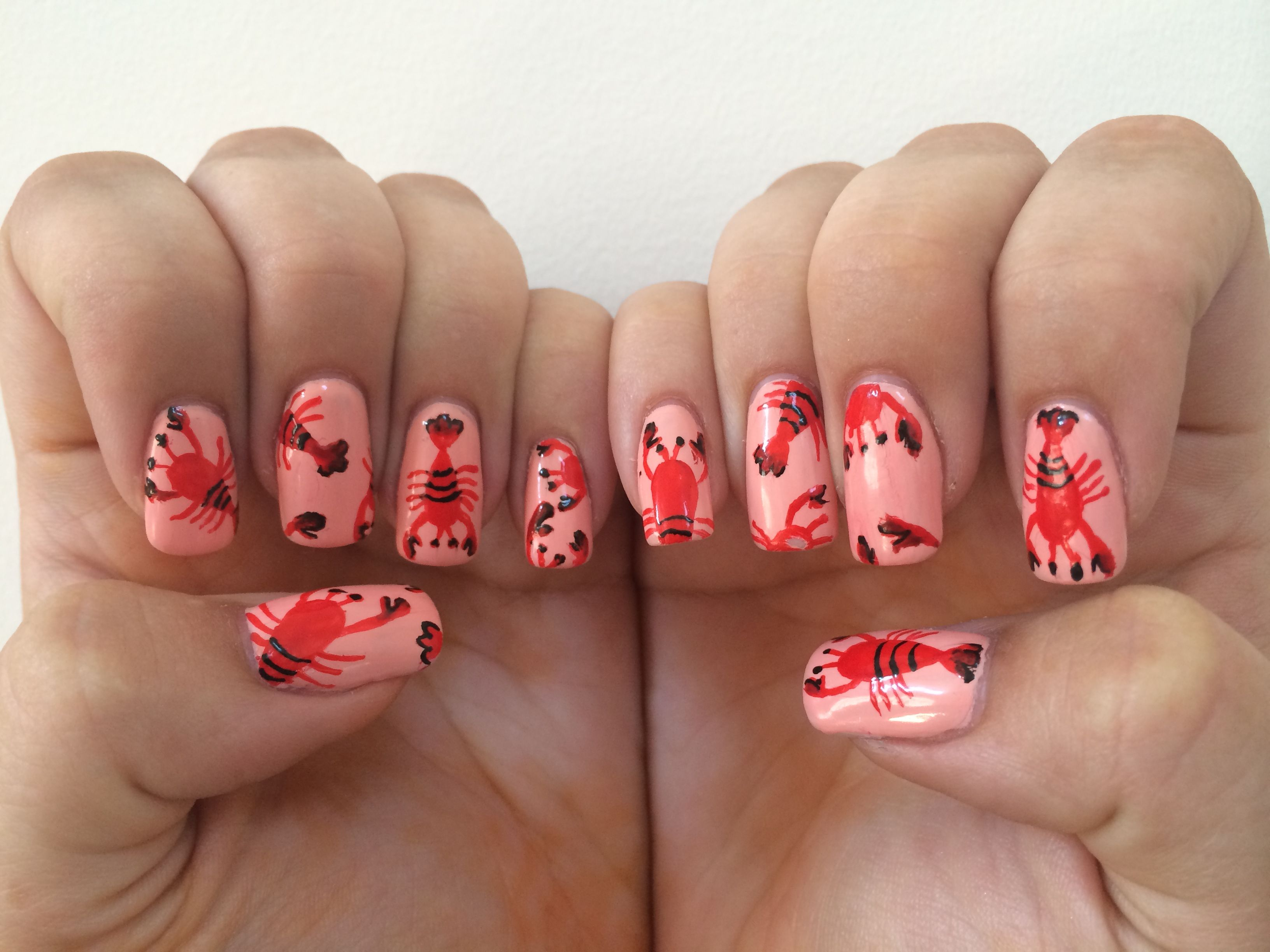 Done By Me : Coral lobster nails done for my America trip, done ...