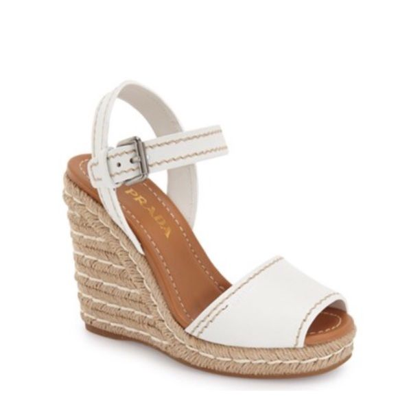 2c37076bb37 PRADA ESPADRILLE SANDAL PRADA WHITE ESPADRILLE WEDGE SANDALS TRACED WITH  CHARMING TOPSTITCHED DETAIL. WEDGE HEEL