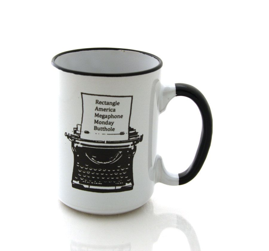 Ron Swanson mug, typewriter, Parks and Recreation, large 15 oz mug, Parks and Rec, every word I know by LennyMud on Etsy