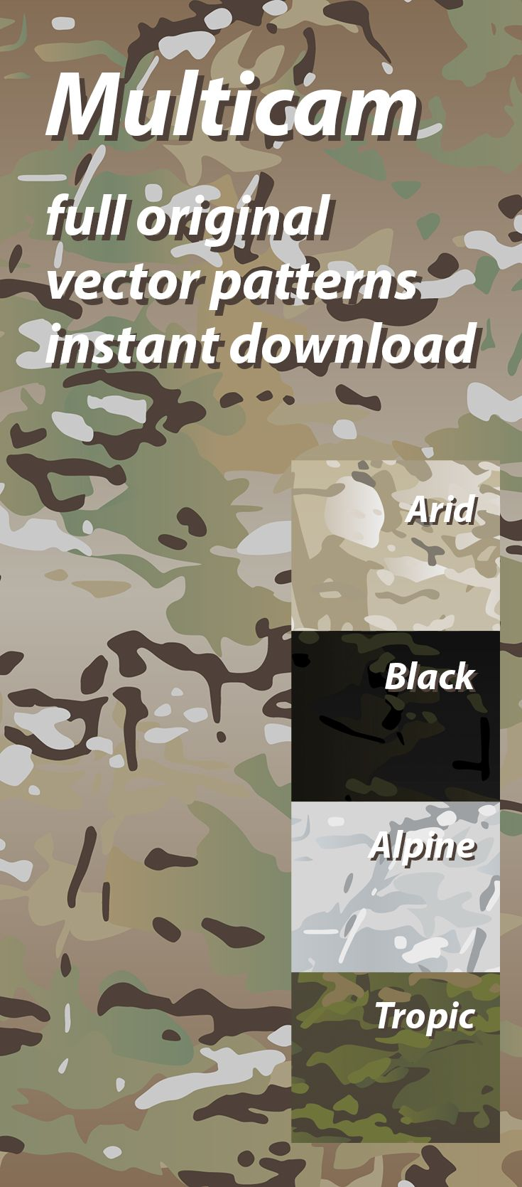 Original Multicam vector camouflage pattern for printing