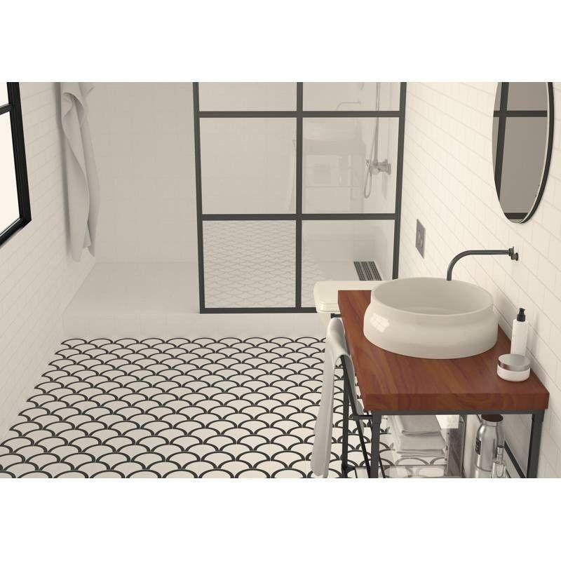 Carrelage Noir Et Blanc Motif Art Deco Comptoir De Cerame Concrete