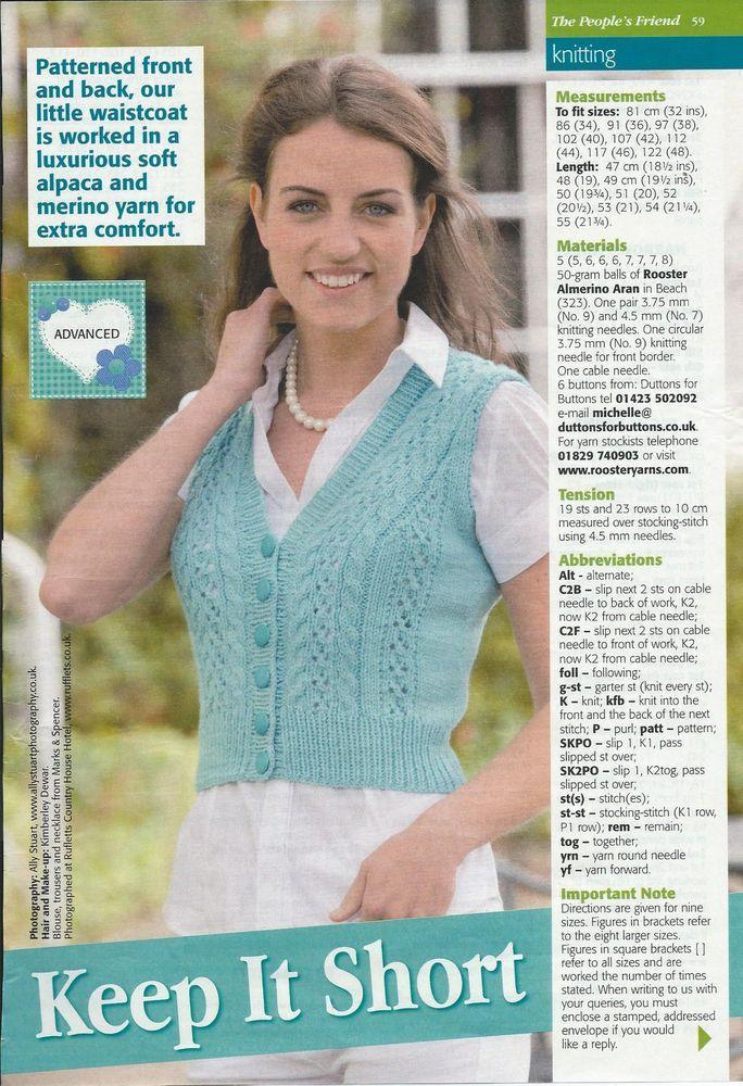 Ladies Crop Lacey Waistcoat Knitting Pattern 32 48 Aran