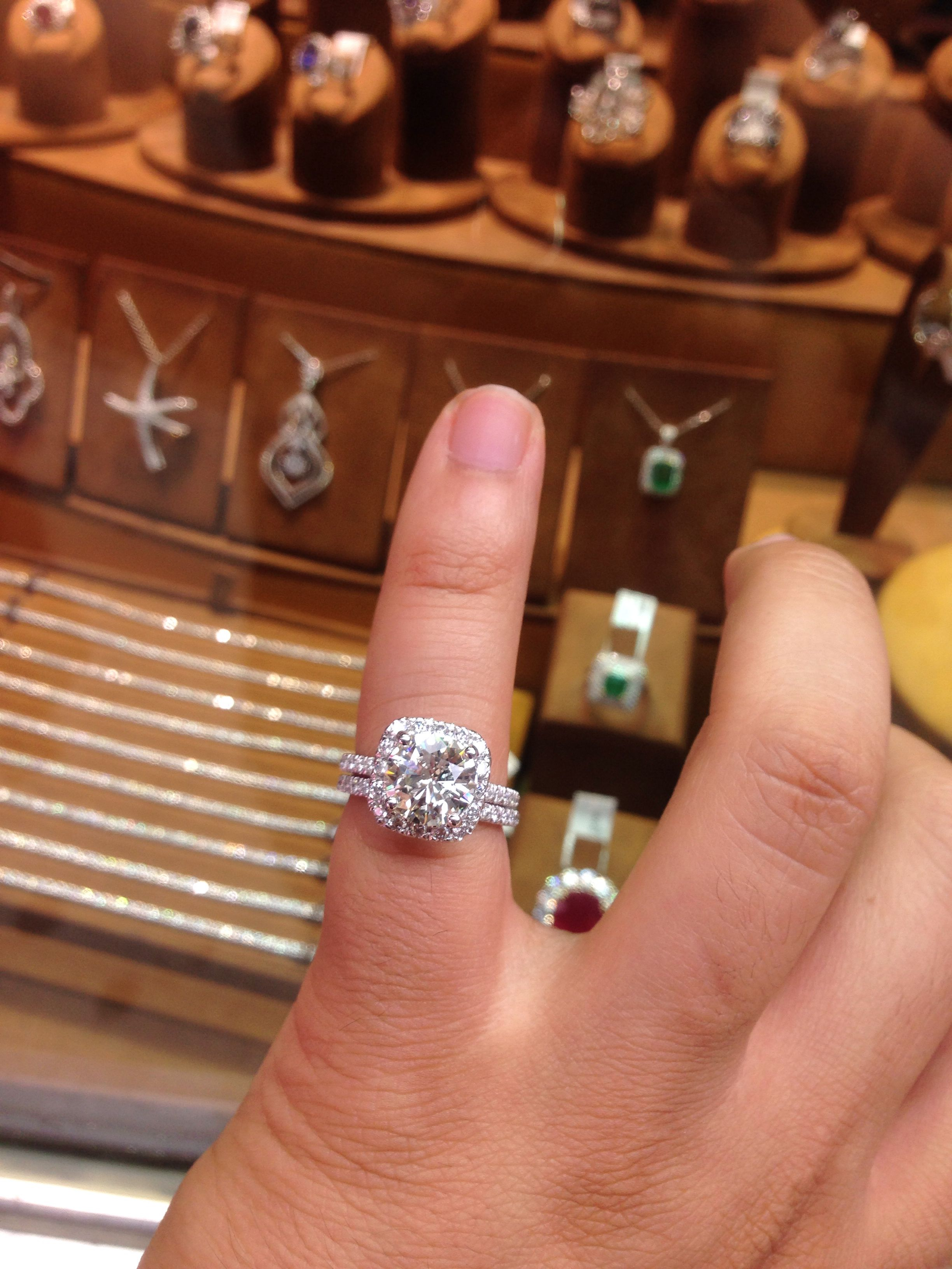 3 Carat Round Diamond Engagement Ring Set In A Cushion Halo