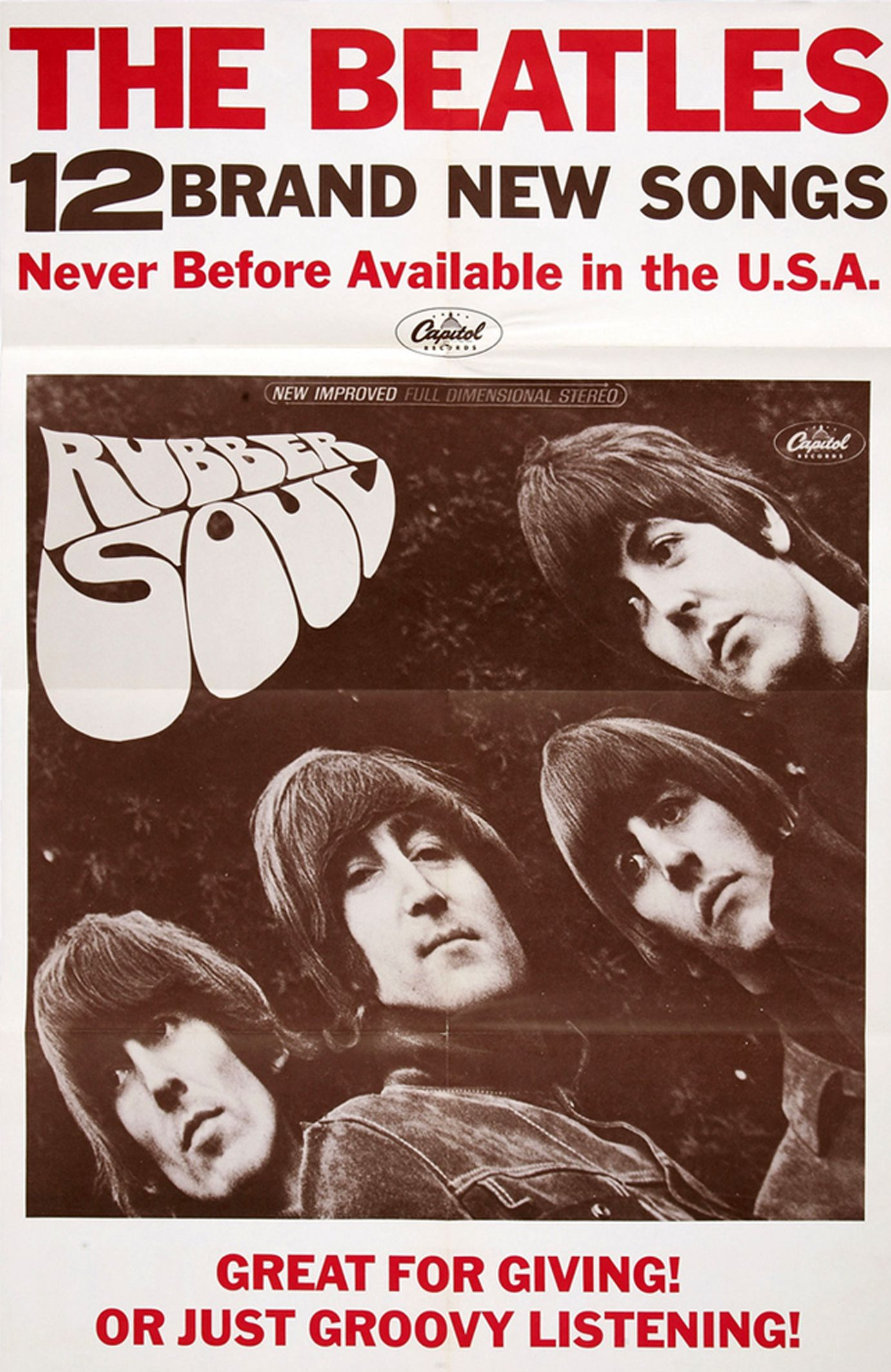 The Beatles Rubber Soul Promo Poster Capitol 1965