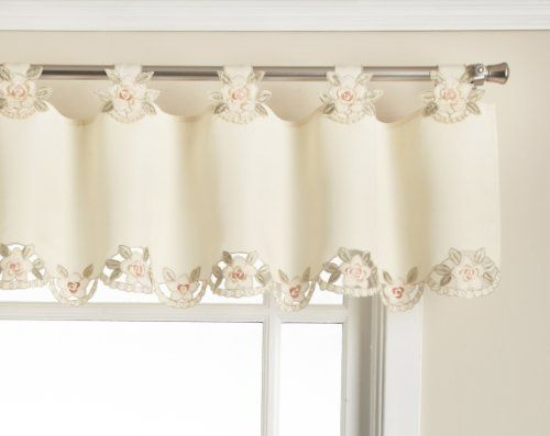 Today S Curtain Capri Reverse Embroidery 14 Inch Tab Top Curtain Valance Ecru Peach By Today S Curtain 26 99