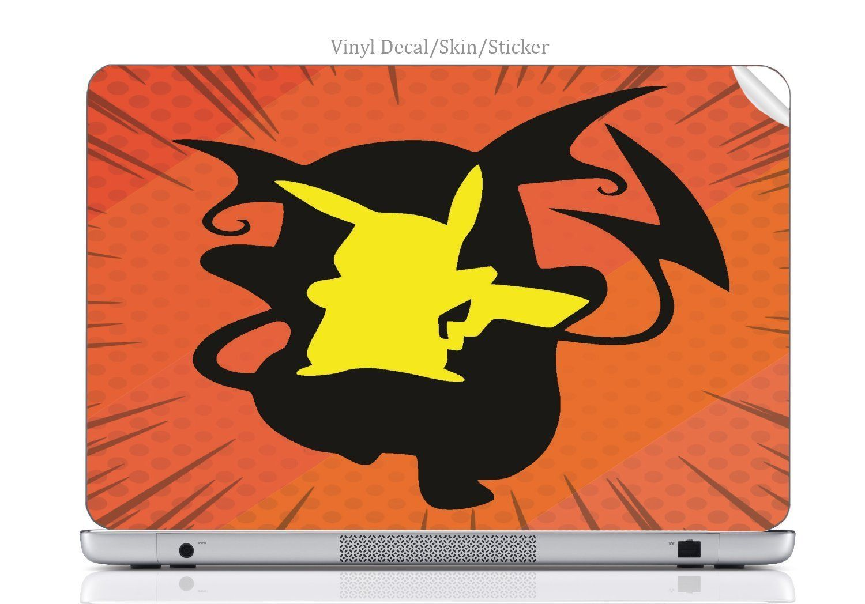 Laptop vinyl decal sticker skin print pokemon pikachu raichu evolution silhouette design printed image artwork fits pavilion g7