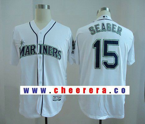 Men's Seattle Mariners #15 Kyle Seager White Home Stitched MLB Majestic Flex Base Jersey
