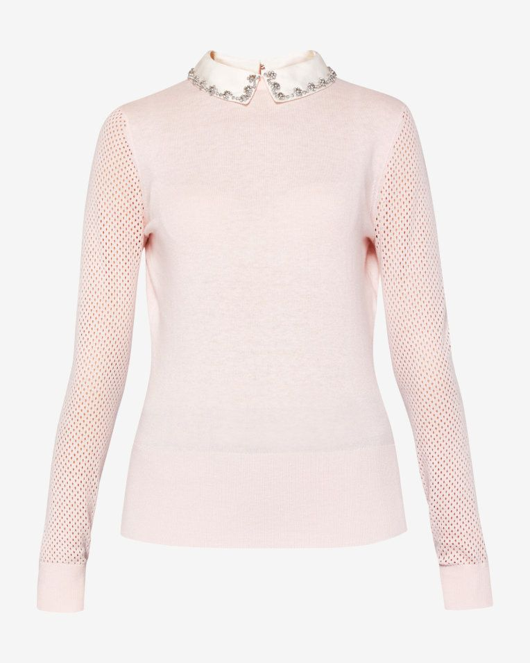 4a5f963fa7f7ae Embellished collar silk-blend sweater - Pink   Sweaters   Ted Baker  #Riverdale #BettyCooper