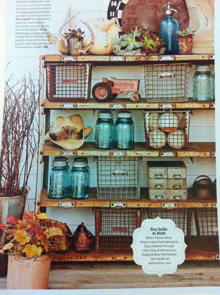 Flea Market Home Decor: Flea Market Style Bookshelf + Built-In Shelf Styling Using