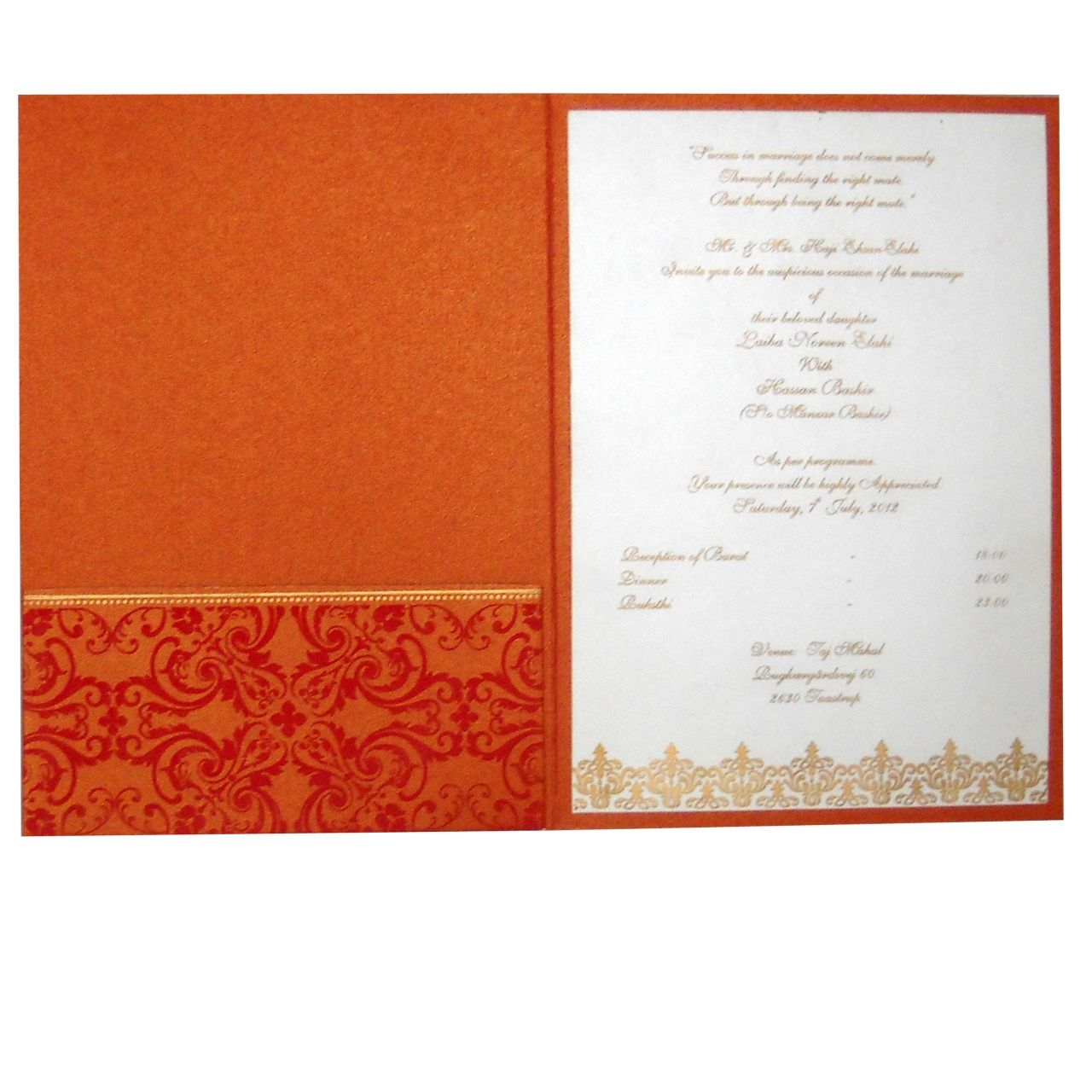muslim wedding invitations mumbai%0A Latest Trendy Indian Wedding Card Design in Orange Color