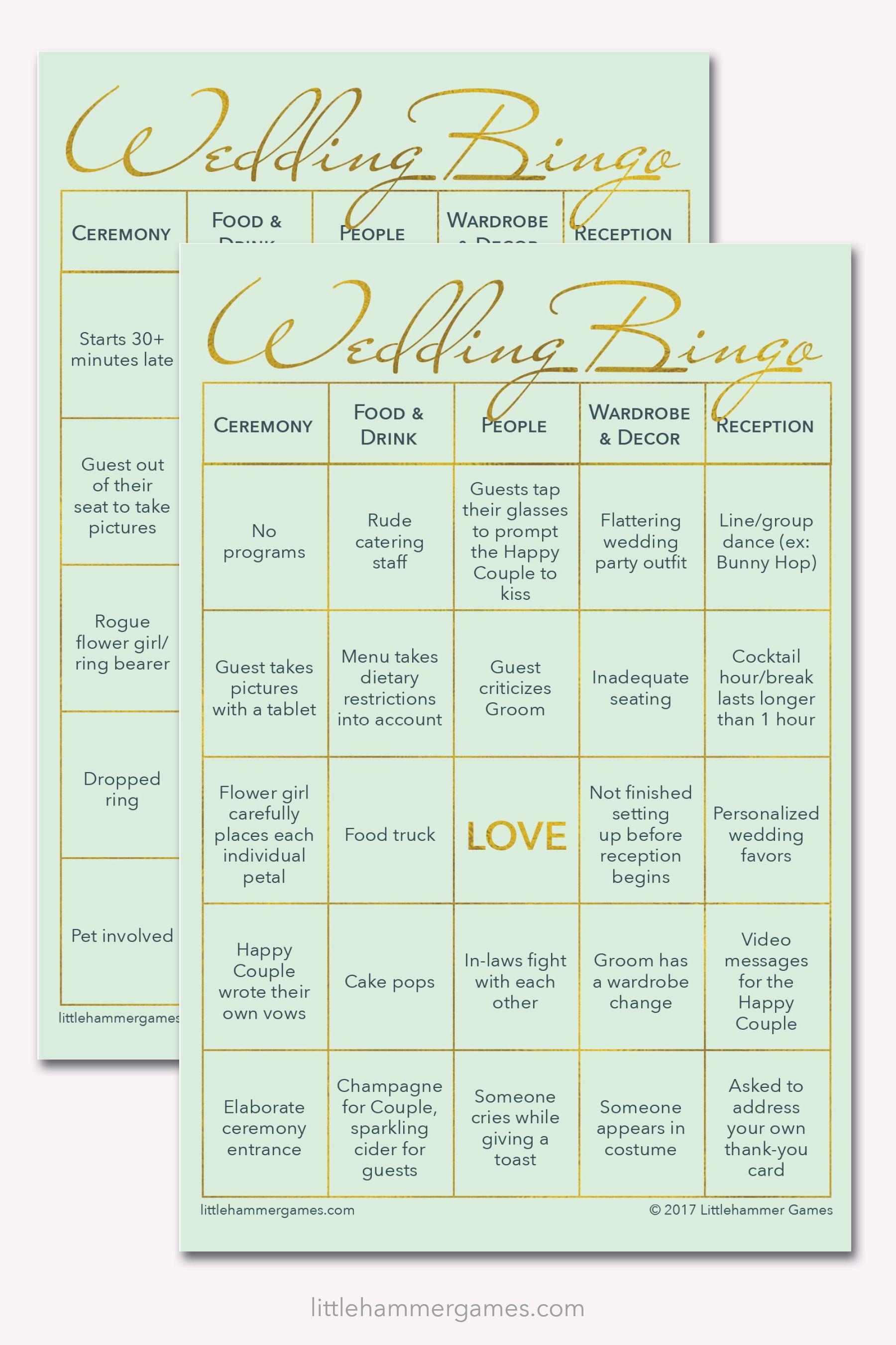 Wedding Bingo Mint And Gold Printable Game Cards Wedding Bingo Wedding Reception Games Wedding Reception Food