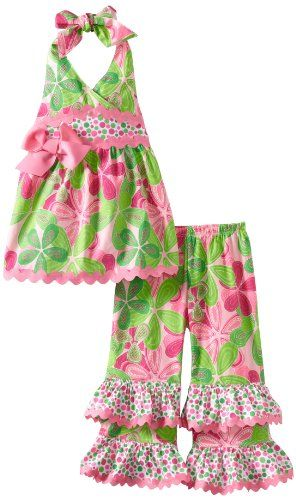 ea3075cb0a Mud Pie Baby-Girls Newborn Little Sprout Floral Halter Pant Set ...
