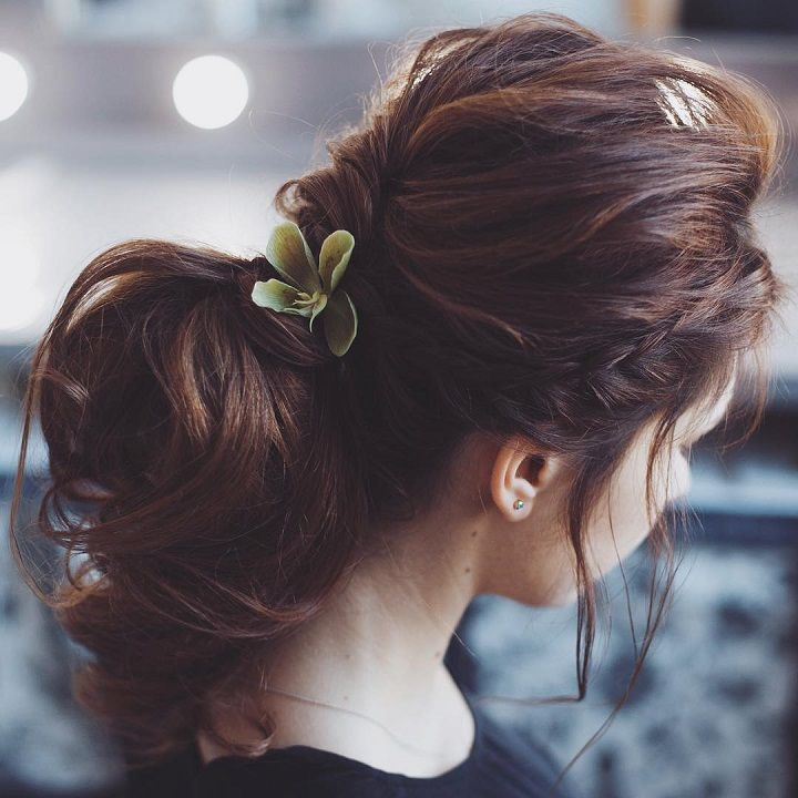 Beautiful crown braid + updo wedding hairstyle inspiration #weddinghair #hairstyle #hairideas #bridalhair #frenchchignon #messyupdo #braids #braidupdo #braided #updohairstyles