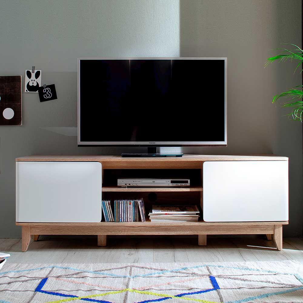 TV Board in Eiche Weiß 160 cm Jetzt bestellen unter: https://moebel ...