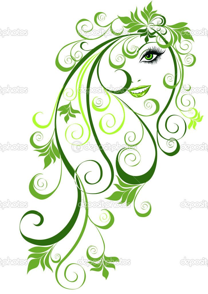 Yaz Kız Saç çiçek Elemanları Ile Vektör çizimi Ab Stok