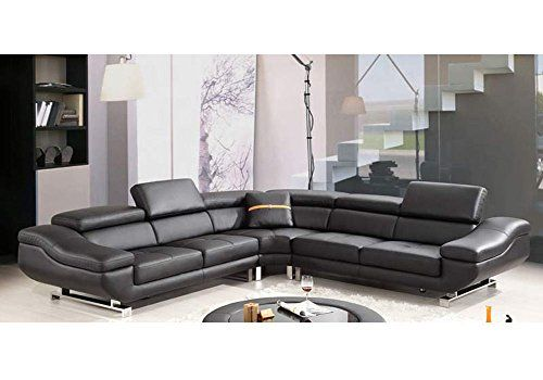1PerfectChoice Contemporary Curved Sectional Sofa Black Bonded Leather  Adjustable Headrests |
