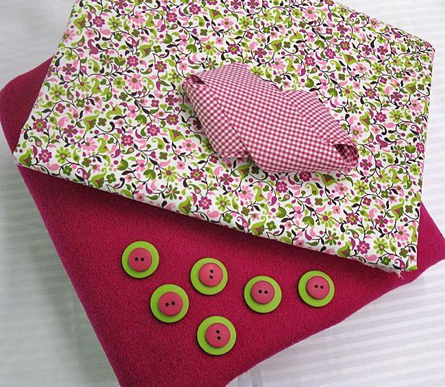"""Jacket Kit - """"Grace"""" Magenta Wool, Cotton Floral, Raspberry Gingham Bias, and Buttons (4 Available)"""