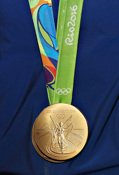 A view of a Rio 2016 Olympic Gold Medal as Olympic ...