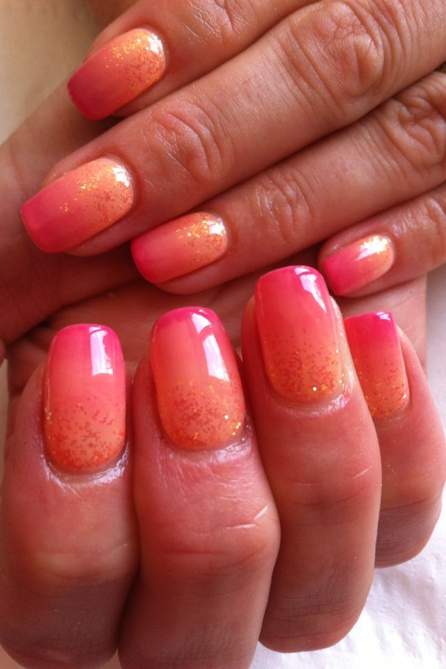 Ombre Calgel Nails Coral Dusky Pink With Glitter Calgel Nails Coral Ombre Nails Coral Nails