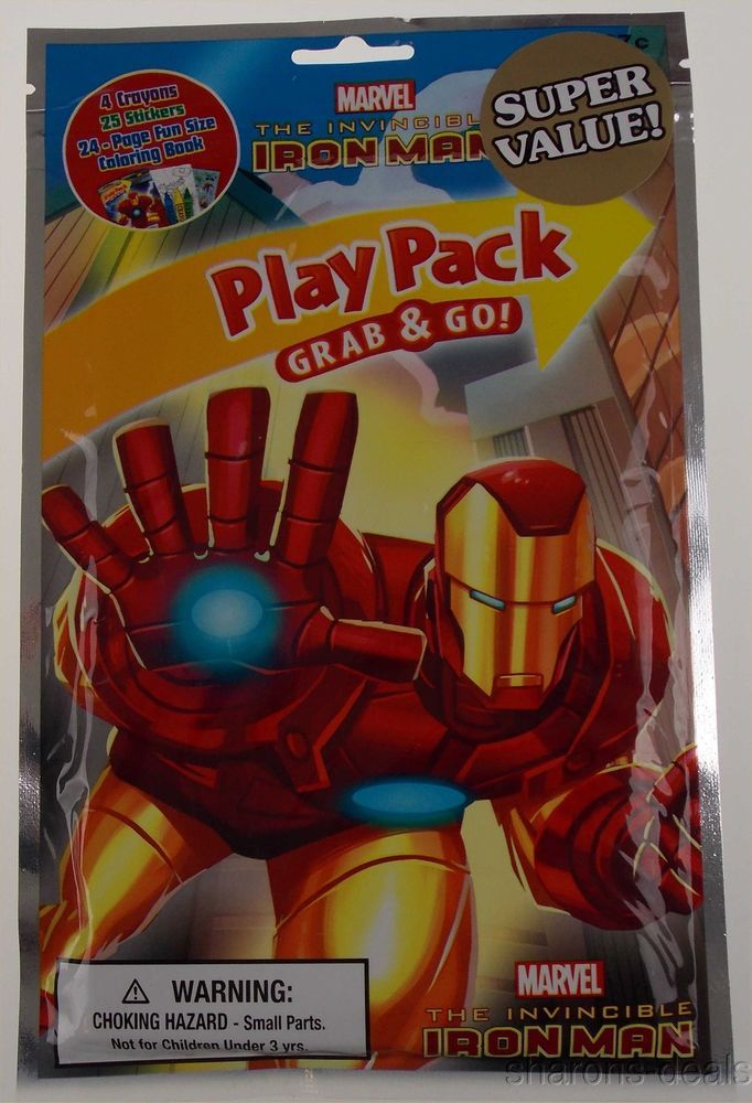 Lot 8 Marvel Iron Man Play Pack Grab Go Coloring Book Crayons Stickers Favor Marvel Iron Man Coloring Books Iron Man