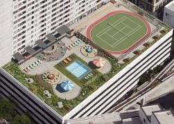 Detroit S Only Rooftop Pool Also Check Out The Tennis Court And