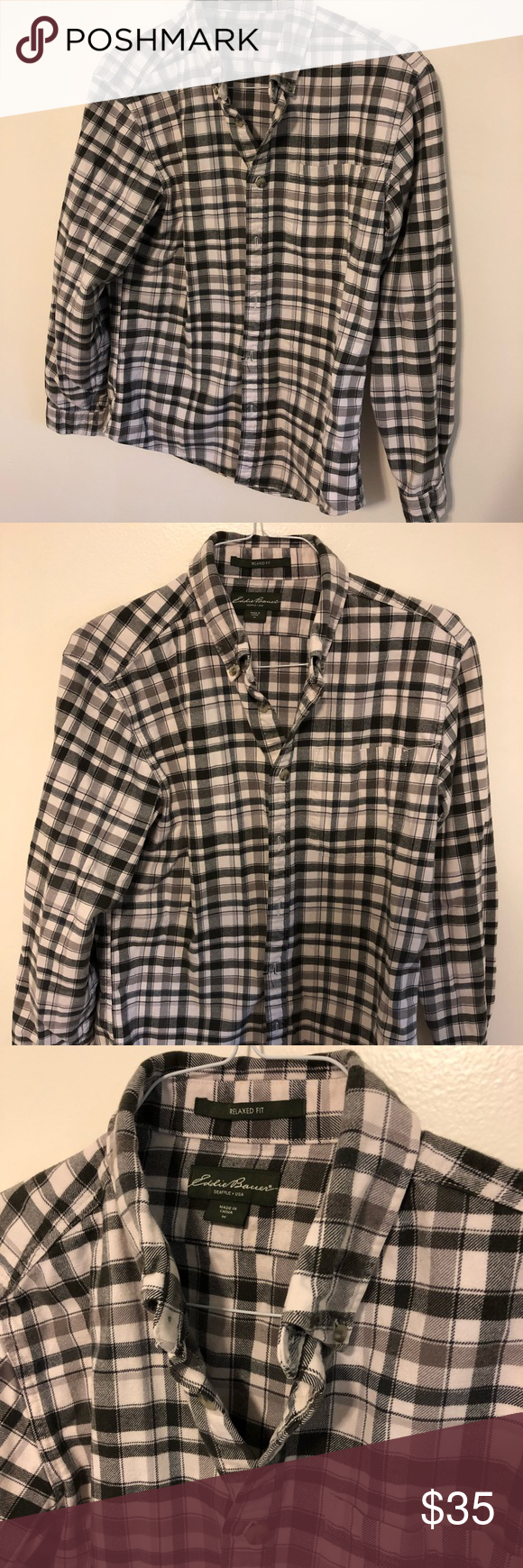 aed53ea3a3630 NWOT Men s Eddie Bauer Relaxed Fit Flannel Brand new without tags men s size  medium relaxed fit flannel from Eddie Bauer Eddie Bauer Shirts Casual  Button ...