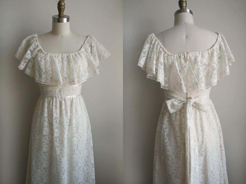 Lace Wedding Dress - Flutter Ruffle Sleeve