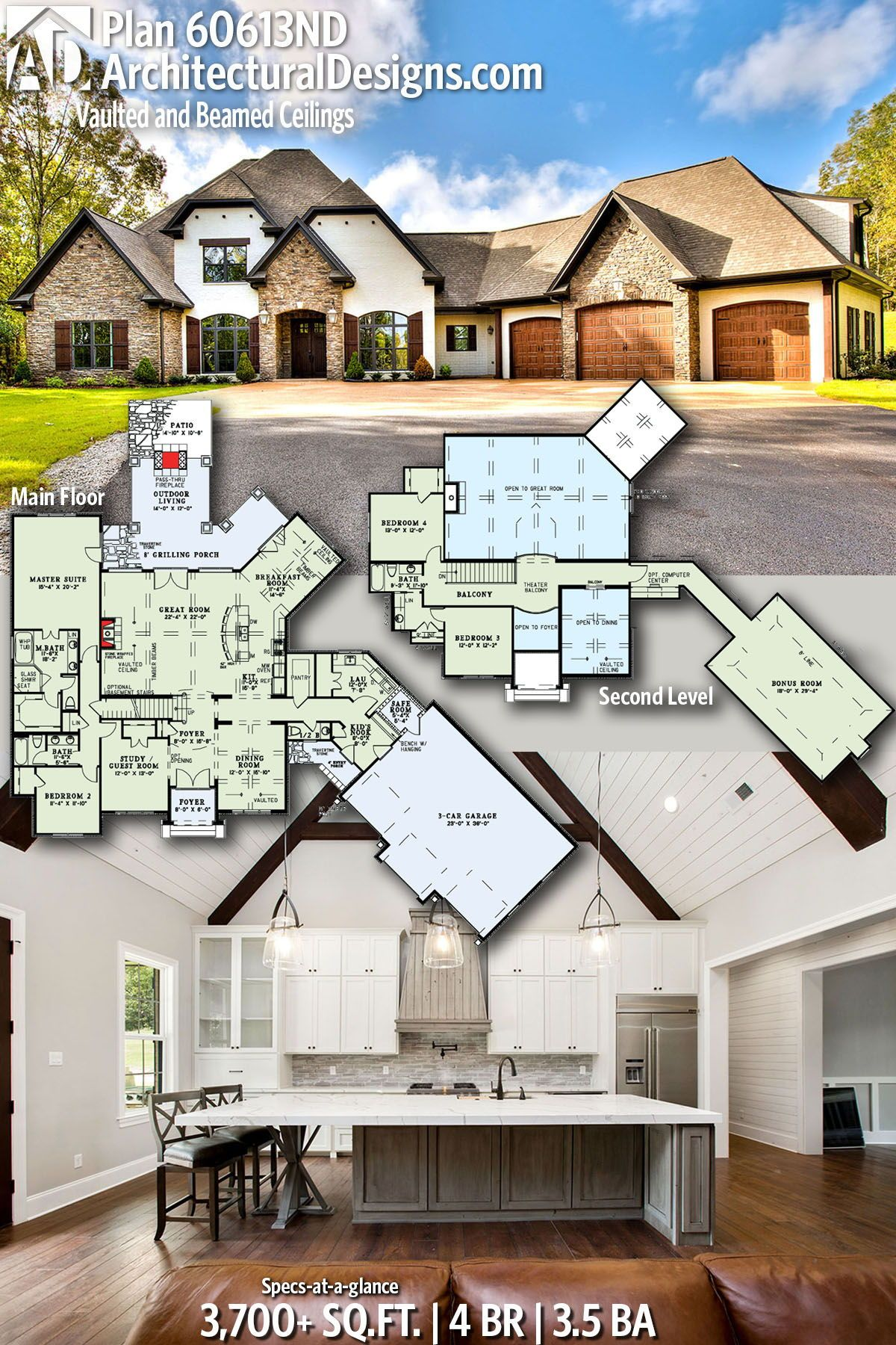 Plan 60613nd Vaulted And Beamed Ceilings House Plans Country House Plans Safe Room
