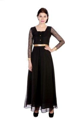 20e840ff3fe Hugo Chavez Women's Maxi Dress - Buy Black Hugo Chavez Women's Maxi Dress  Online at Best