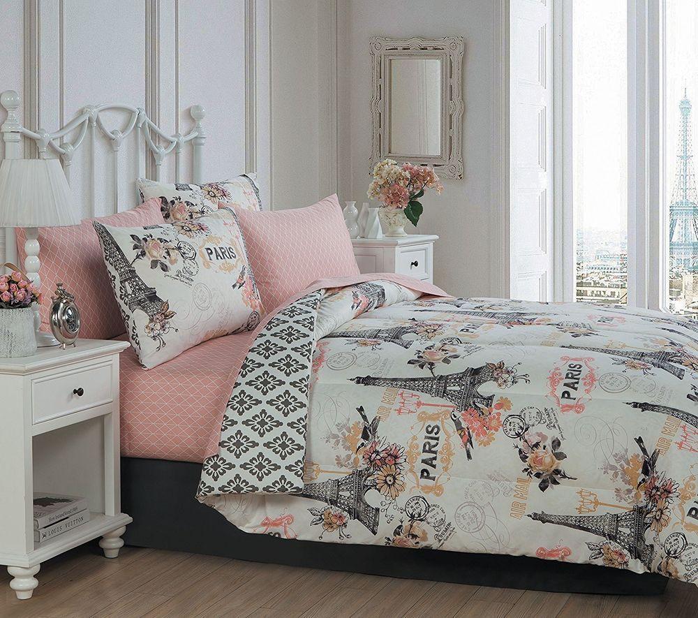 Paris Theme Bedding Set Queen 8 Pc Comforter Bedskirt