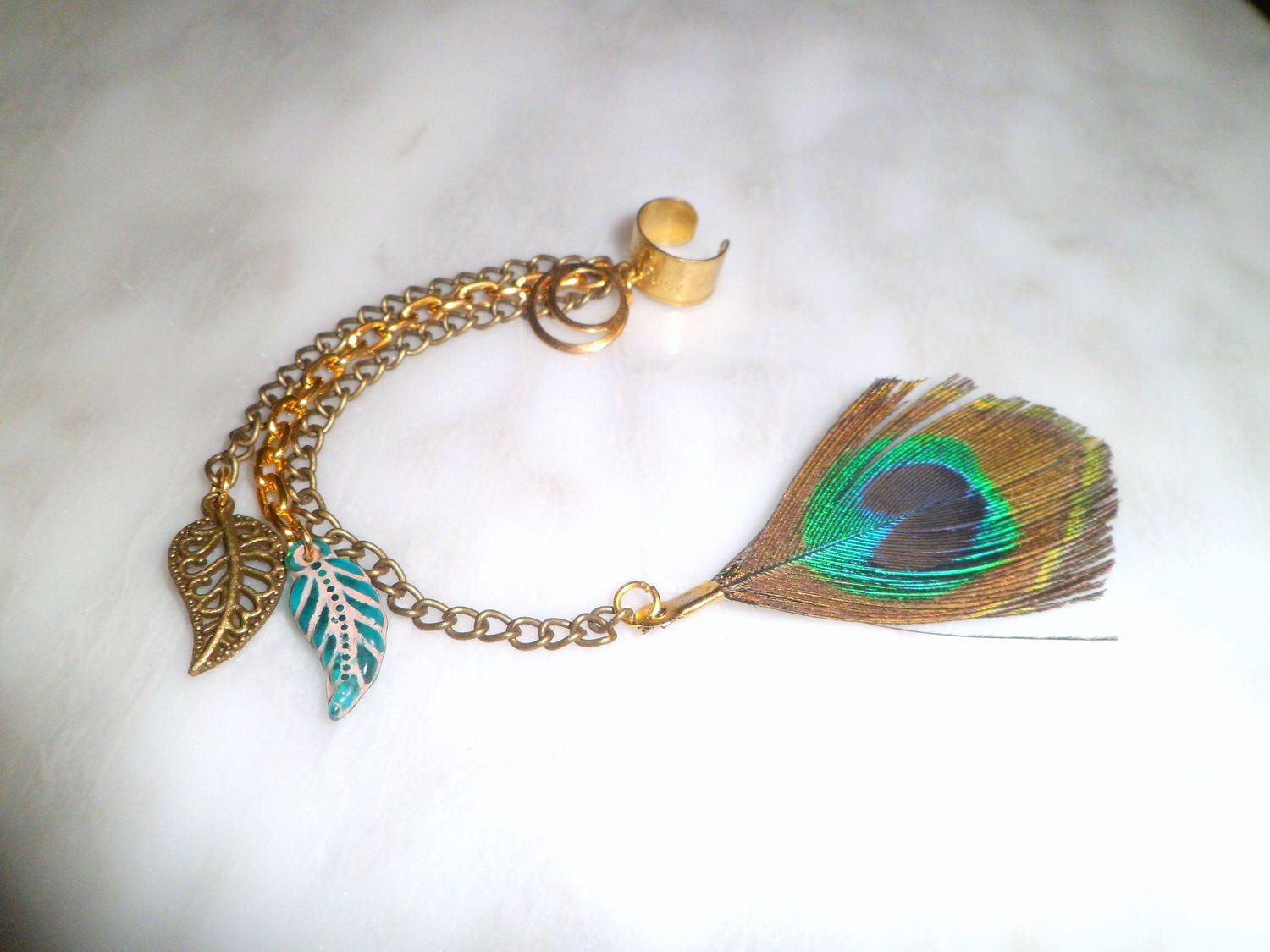 Cartilage Ear cuff wrap with Peacock Feather, Dangle Charms, and Multiple chains No piercing needed.