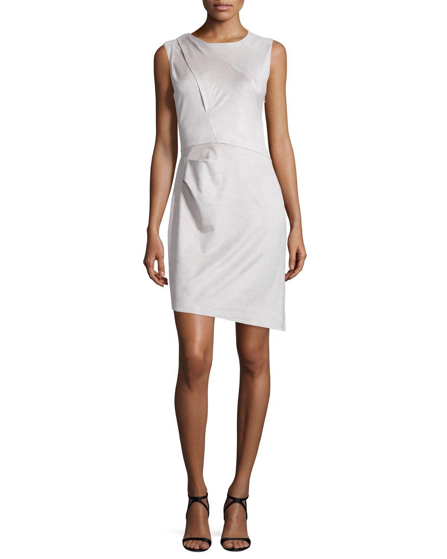 Sleeveless Pleated-Shoulder Sheath Dress, Stone Gray, Women's, Size: 12, Stone Grey - Halston Heritage