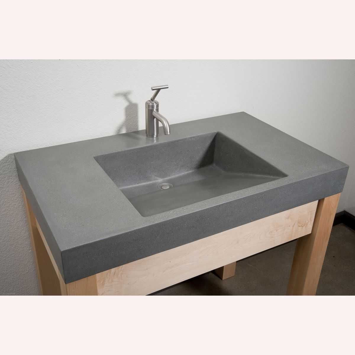 Polished Concrete Vanity with Integrated Ramp Sink On Custom Made