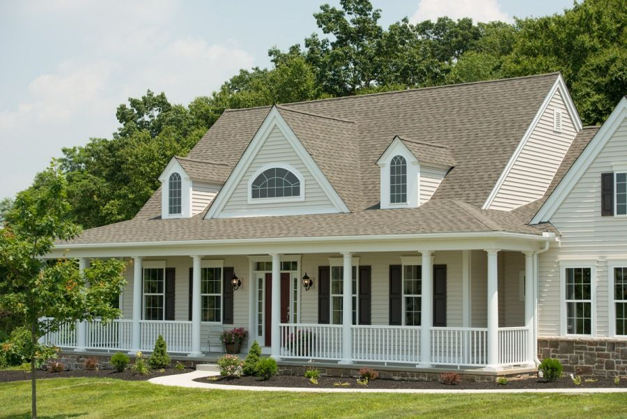 One story model home with a large front porch a front for House plans with dormers and front porch