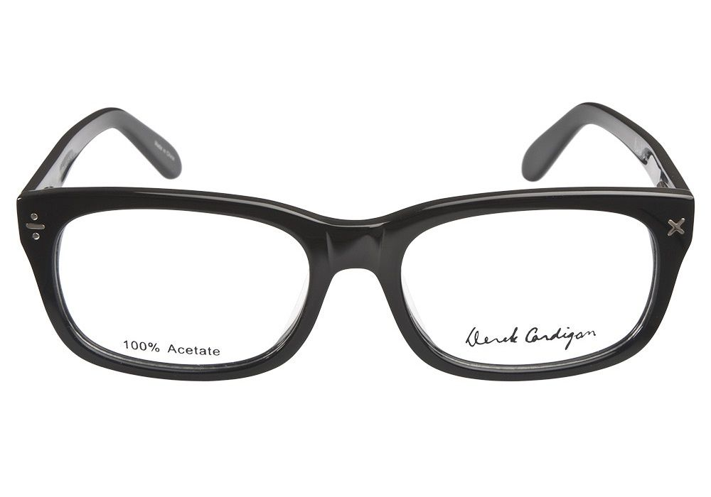 f6410ac8c0 Make a bold statement with these Derek Cardigan DC7003 Black eyeglasses.  The classic wayfarer style is updated in a thinner more modern design in  glossy ...
