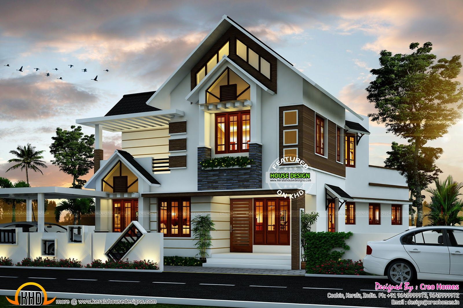 Super cute modern house plan kerala home design and floor for Kerala houses designs