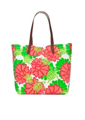 Crown Ivy Beach Water Lily Turtle Tote Bag