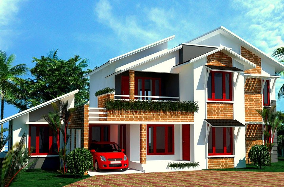 Outdoor Appealing White Sloping Roof House With Brick