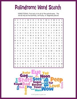 Palindromes Word Search Puzzle Mind Reading Tricks Reading