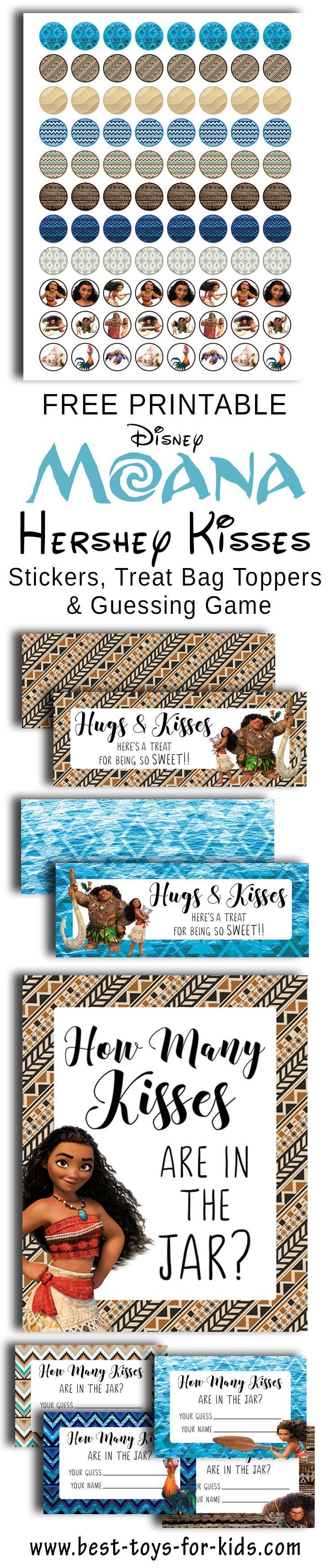 Disney moana free printable hershey kiss stickers treat bag toppers