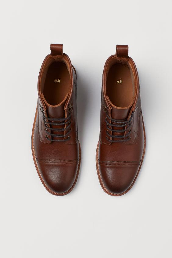 Skorzane Trzewiki Brazowy On H M Pl Dress Shoes Men Oxford Shoes Dress Shoes