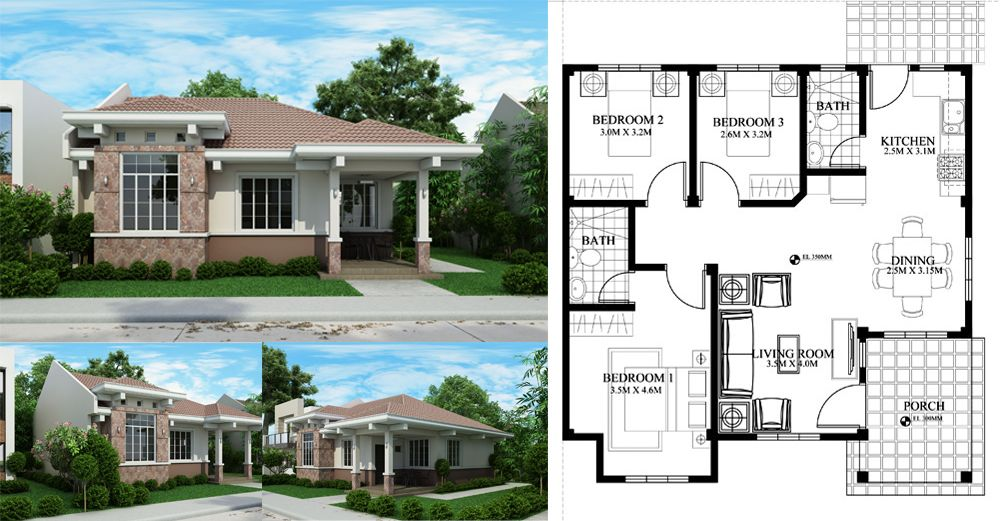 Php 2015022 Small Efficient House Plan With Porch Porch House Plans Bungalow House Design House Plans Small efficient house plan