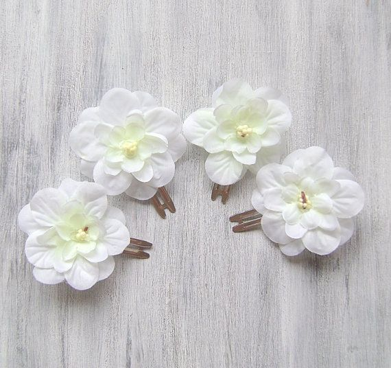 Wedding flower hair clips white flowers hair clip wedding hair wedding flower hair clips white flowers hair clip wedding hair accessories by mightylinksfo