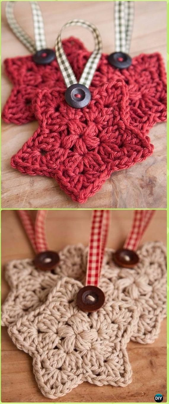 Crochet Star Ornament Free Pattern - Crochet Christmas Ornament Free ...