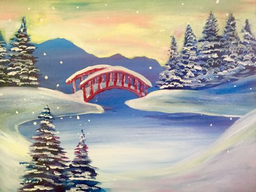 Red Bridge in Winter created for Paint Nite by Katana Leigh DuFour