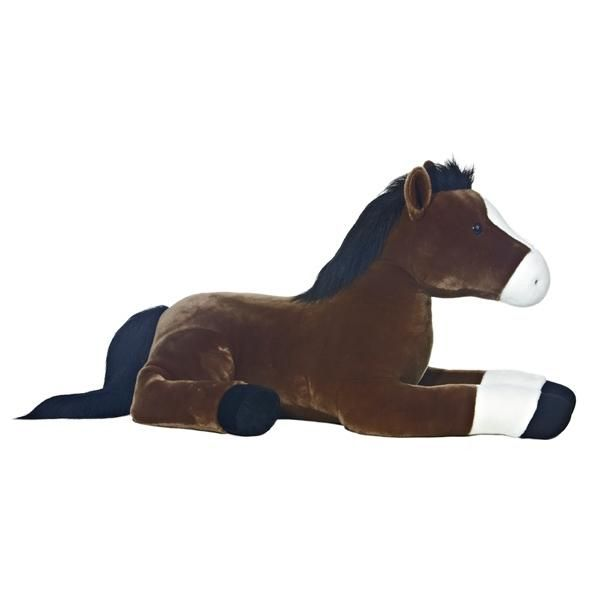 """Legend the Brown Horse from Aurora is 40"""" long and big enough for your child to ride!"""